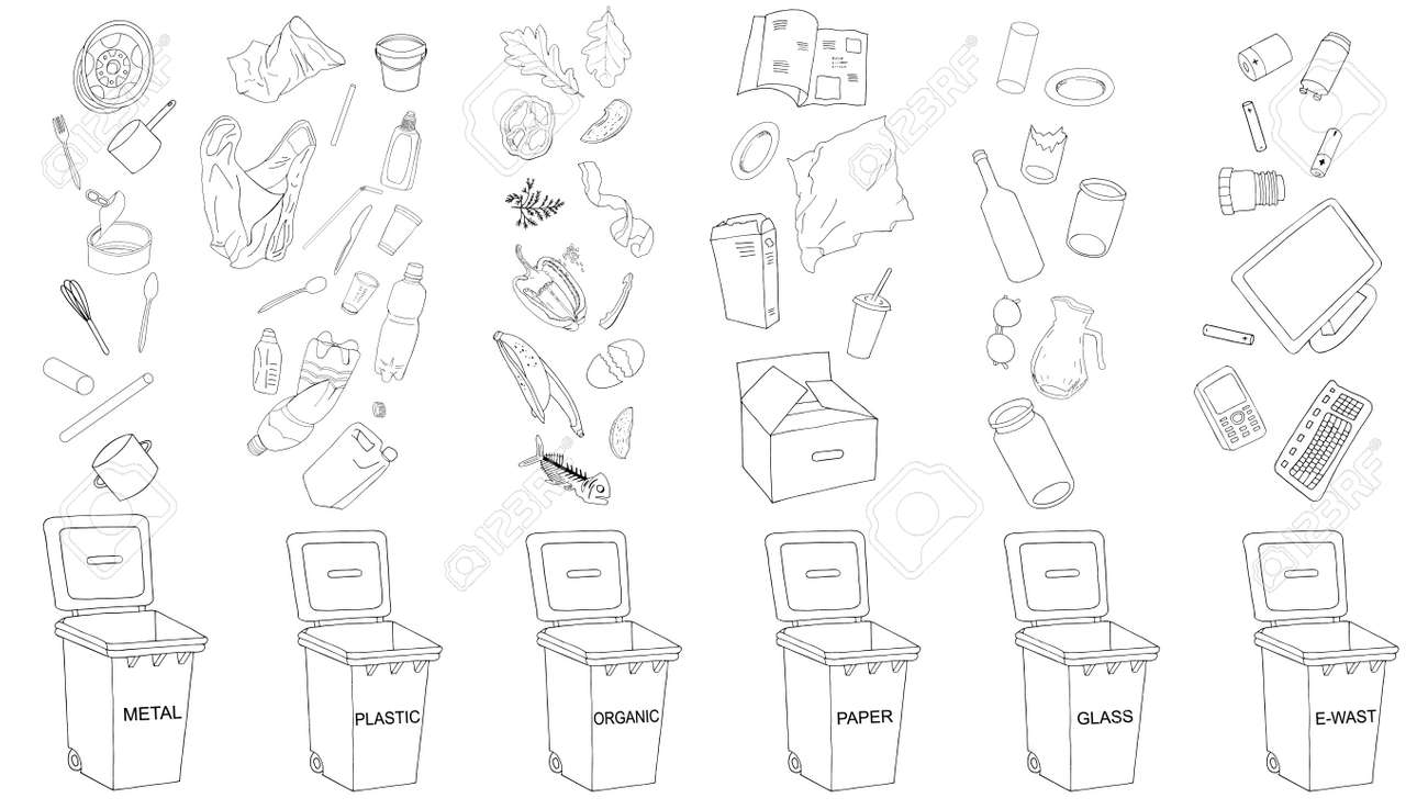 Trash cans with sorted garbage set. Different types of garbage - Organic, Plastic, Metal, Paper, Glass, E-waste. Vector collection of trash bins. - 160623211