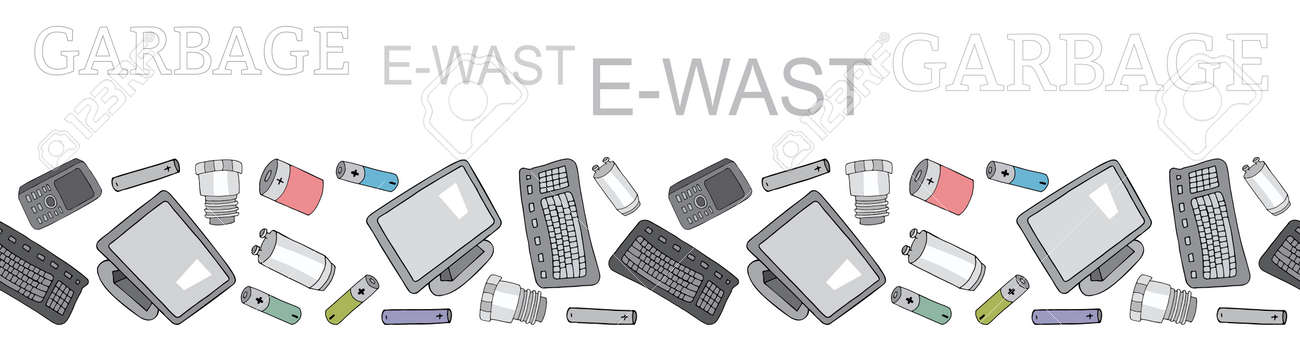 Seamless border with sorted electronic waste garbage isolated on white. Vector pattern. Hand draw collection of trash. - 160623212