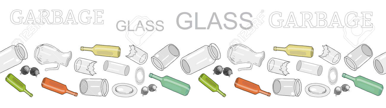Seamless border with sorted glass garbage. Large collection of patterns with separate debris. Vector pattern. Hand draw collection of trash. Concept of Recycles Day, - 160623219
