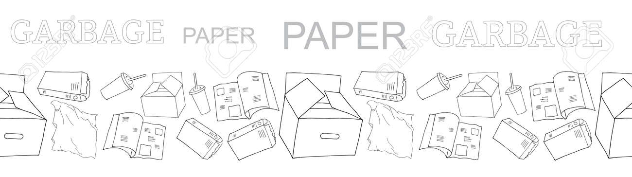 Outline seamless vector border with sorted paper garbage isolated on white. Collection of patterns with separate debris. Hand drawn background of trash. Concept of Recycles Day, World Cleanup Day. - 160623224