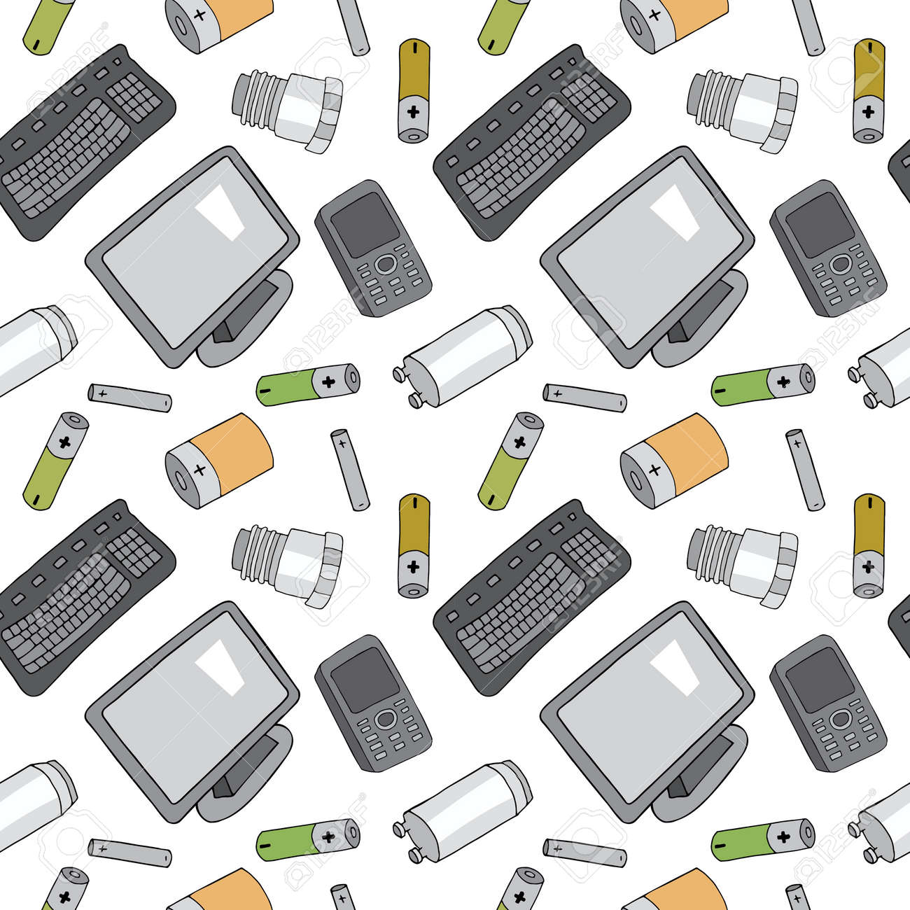 Seamless pattern with sorted e-waste garbage isolated on white background. Part 1 of separate debris collection. Vector hand drawn set of trash. Concept of Recycles Day, World Cleanup Day and ecology. - 160623248