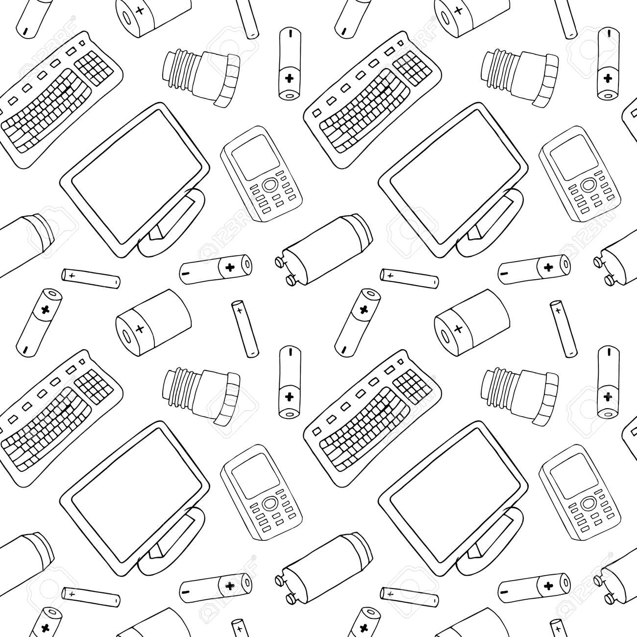 Outline seamless pattern with sorted e-wast garbage isolated on white background. Part 2 of separate debris collection. Vector hand drawn set of trash. - 160623249