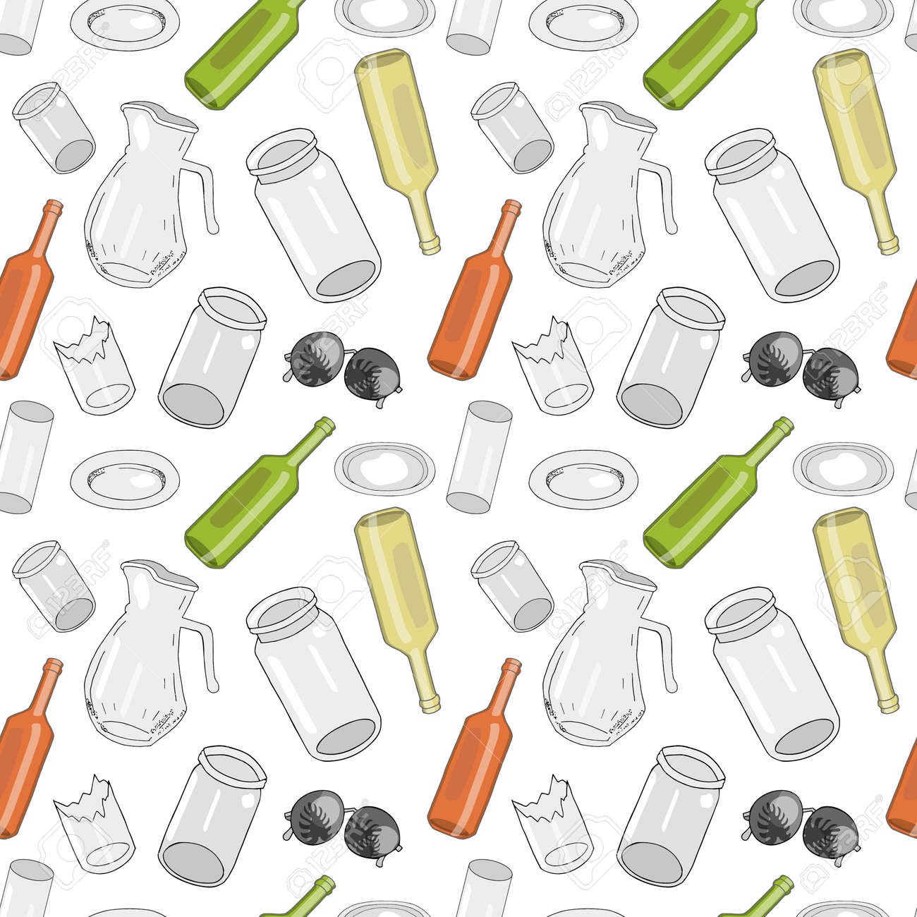 Seamless pattern with sorted glass garbage isolated on white background. Part 1 of separate debris collection. Vector hand drawn set of trash. Concept of Recycles Day, World Cleanup Day and ecology. - 160623250