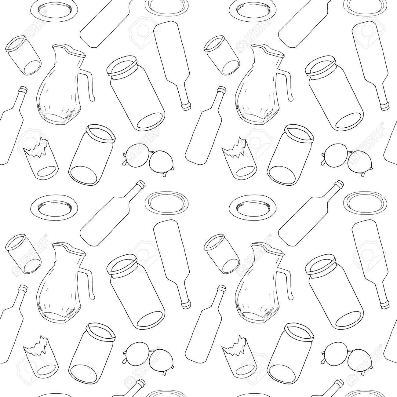 Outline seamless pattern with sorted glass garbage isolated on white. Part 8 of separate debris collection. Vector hand drawn set of trash. Concept of Recycles Day, World Cleanup Day and ecology. - 160623251