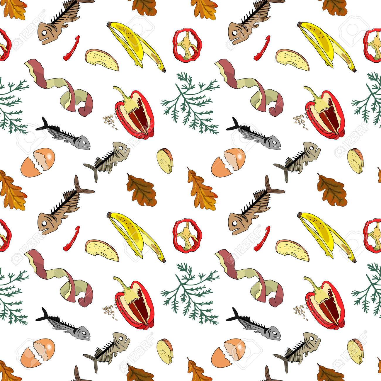 Seamless pattern with sorted organic garbage isolated on white background. Part 4 of separate debris collection. Vector hand drawn set of trash. Concept of Recycles Day, World Cleanup Day and ecology. - 160623257