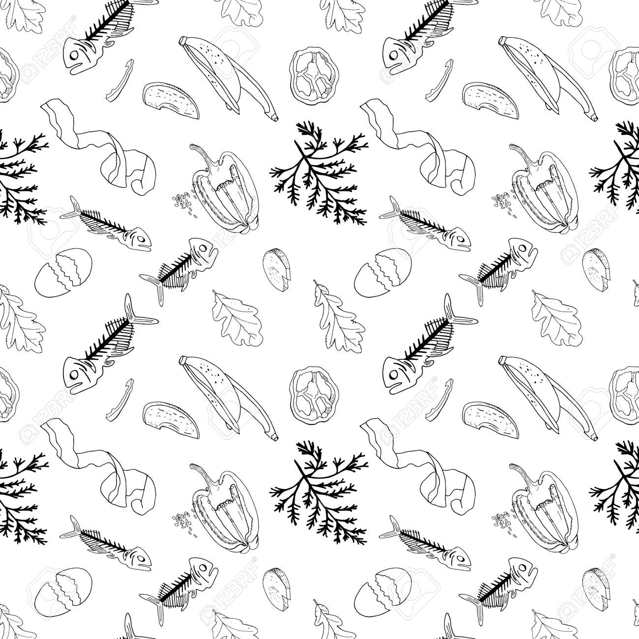 Outline seamless pattern with sorted organic garbage isolated on white. Part 7 of separate debris collection. Vector hand drawn set of trash. Concept of Recycles Day, World Cleanup Day and ecology. - 160623258