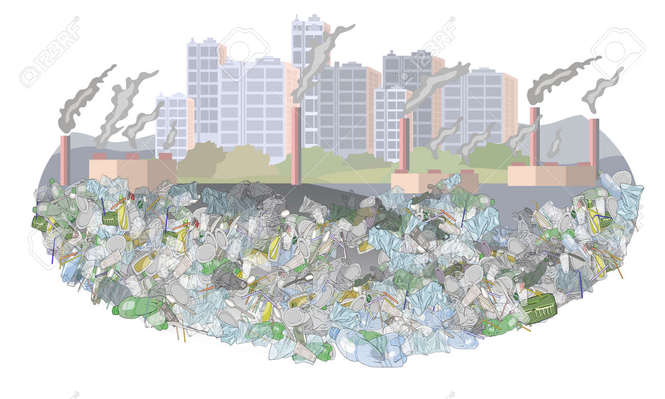 Environmental disaster of plastic debris in the city. The problem of cleaning and separation of garbage. Air pollution by plants and factories. The concept of ecology. - 160623326