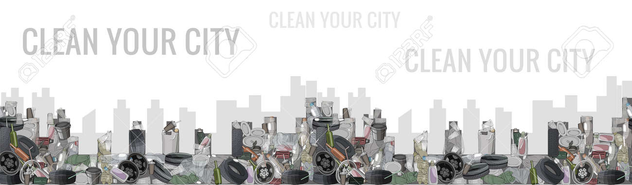 Urban landscape seamless pattern. Air pollution by plants and factories. The problem of cleaning and separation of garbage. Air pollution by plants and factories. The concept of ecology. - 160623327
