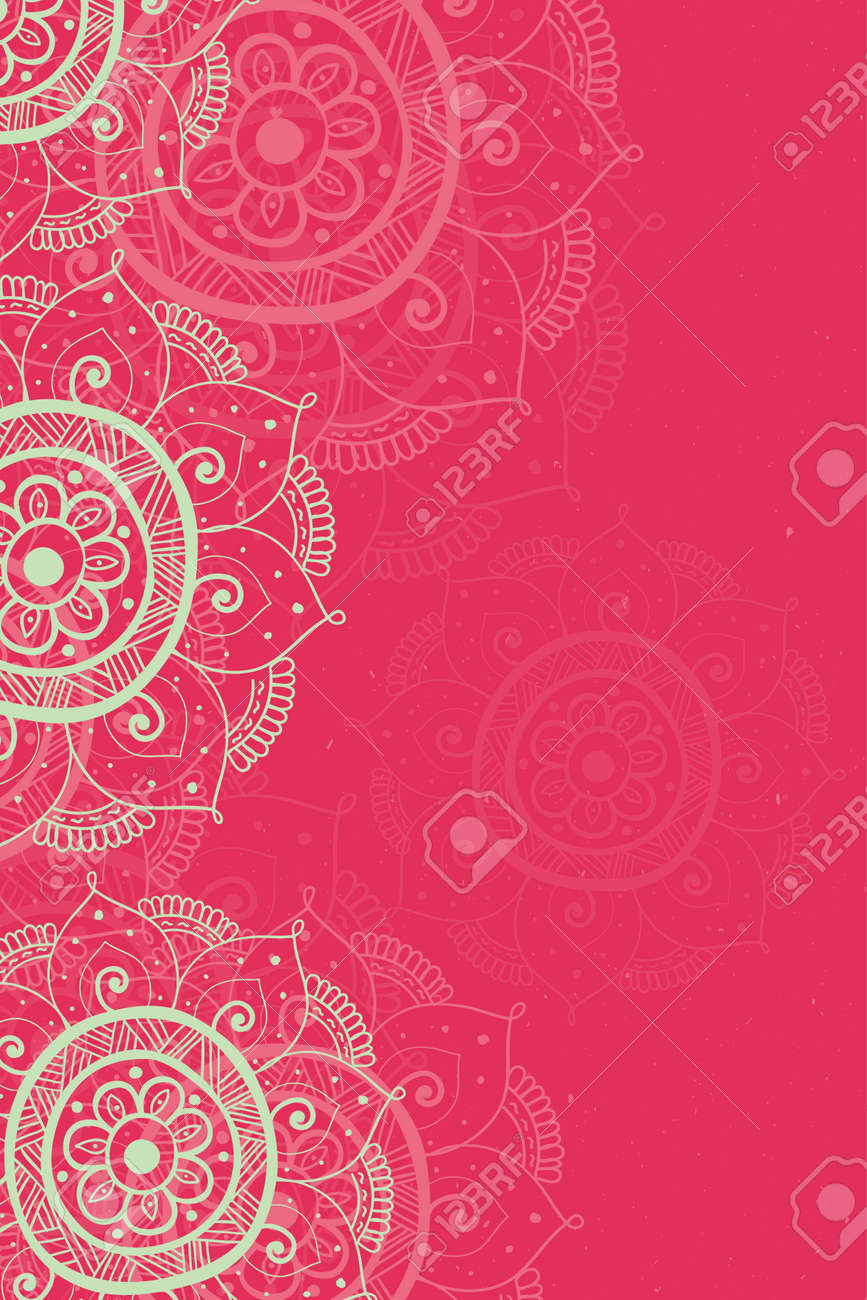 Ethnic Invitation Card Red Background With Lace Beige Ornament