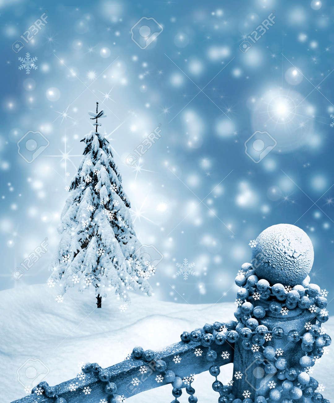 Carte De Noël. Paysage D'hiver. Arbres Couverts De Neige Banque D