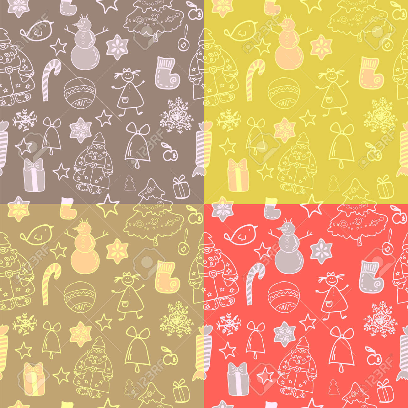 Funny winter christmas set of seamless patterns Stock Vector - 17068103