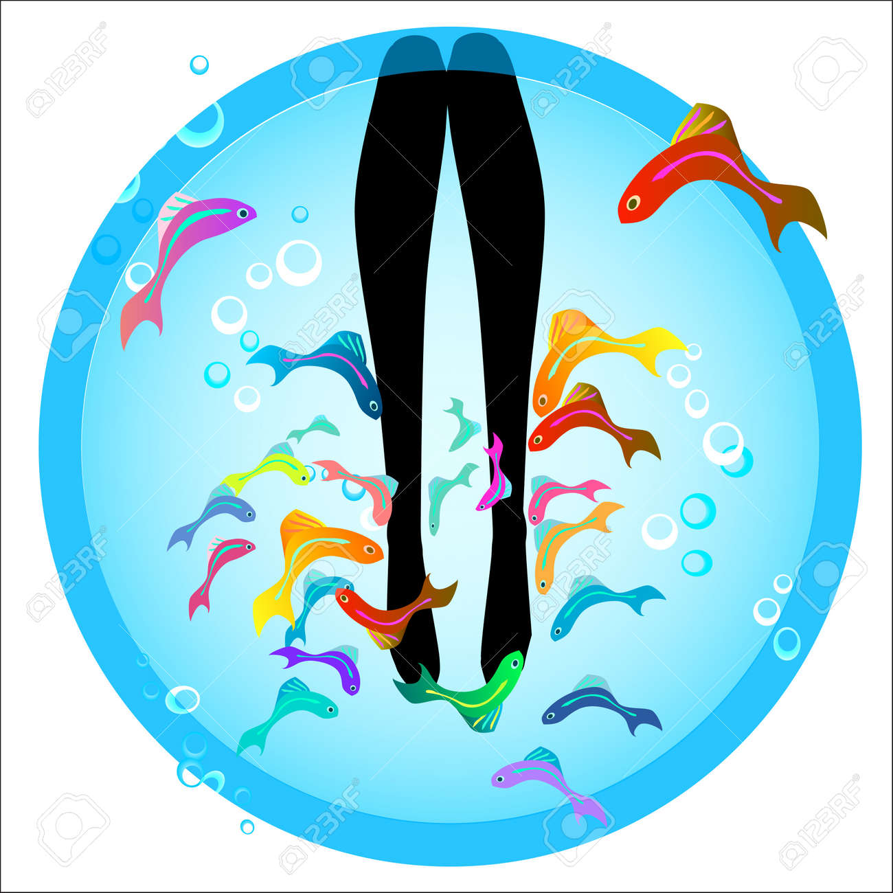 fish spa pedicure wellness care treatment with rufa garra, or doctor fish, nibble fish and kangal fish Stock Vector - 17068042