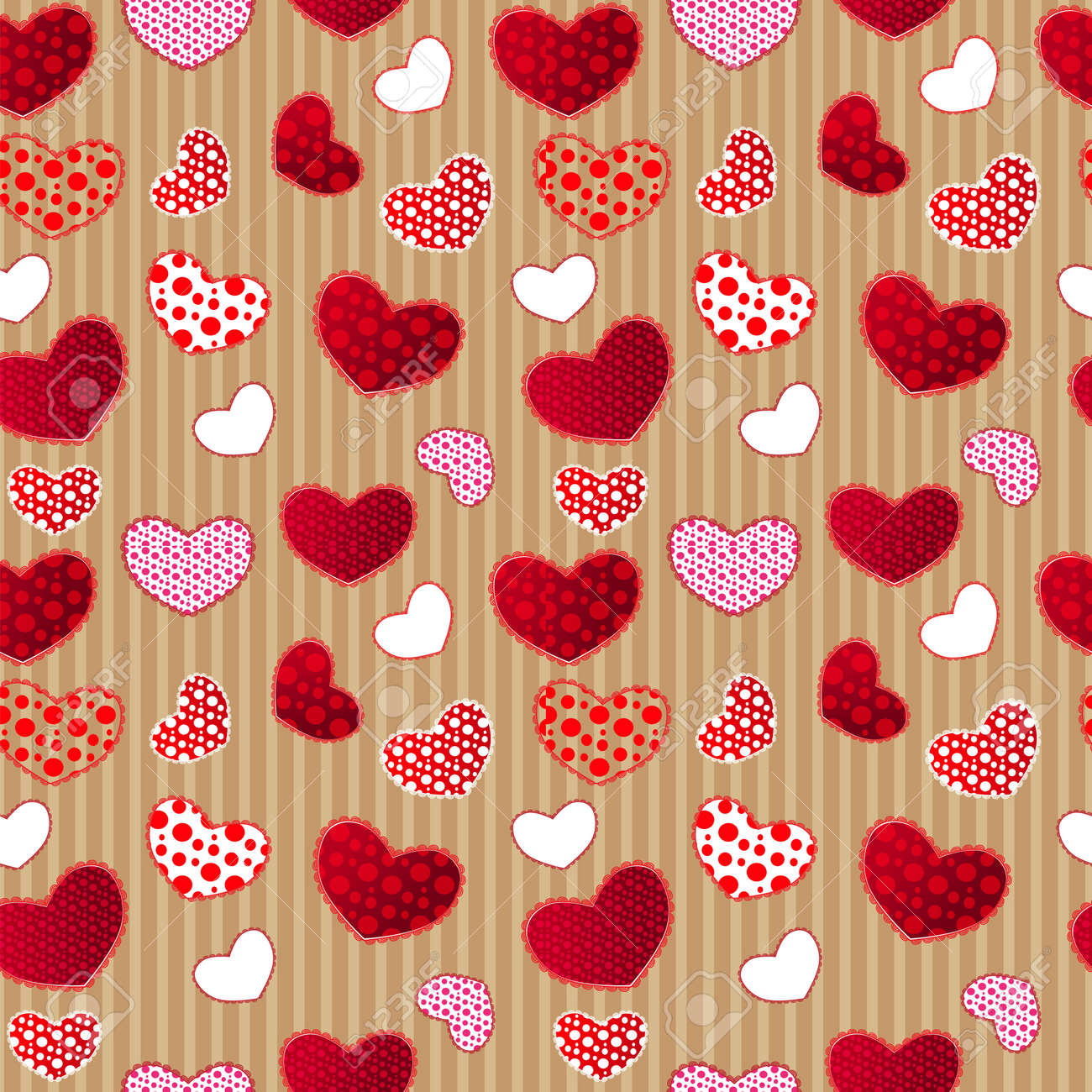 Red vintage love valentins day seamless pattern on craft paper red vintage love valentins day seamless pattern on craft paper illustration for your design stock jeuxipadfo Image collections