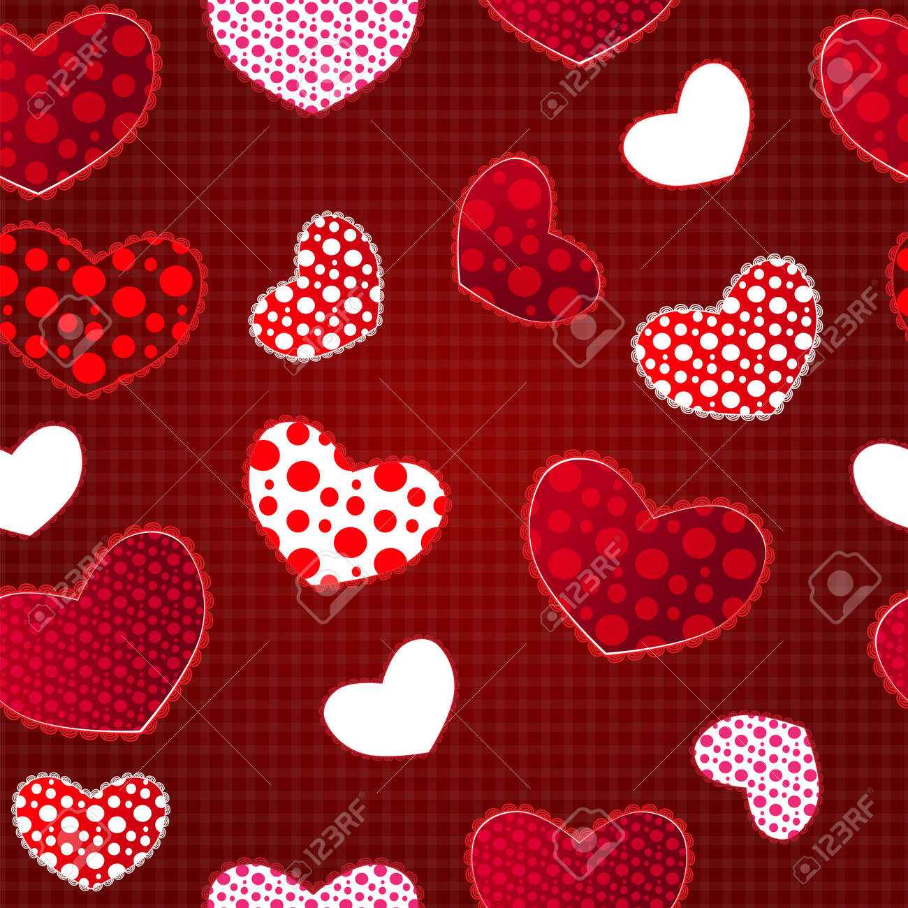 Red Love Valentin's Day Seamless Pattern on Craft Paper. Illustration for your design Stock Vector - 17294056