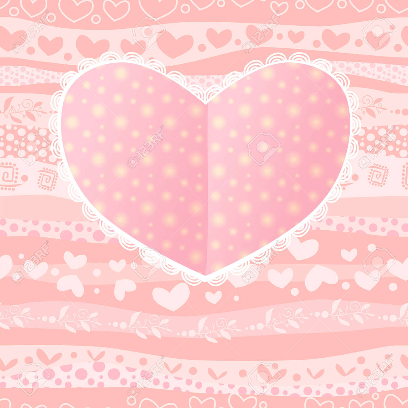 Love Valentine's Day Wedding Heart Card on Waves Seamless Background Stock Vector - 17294026