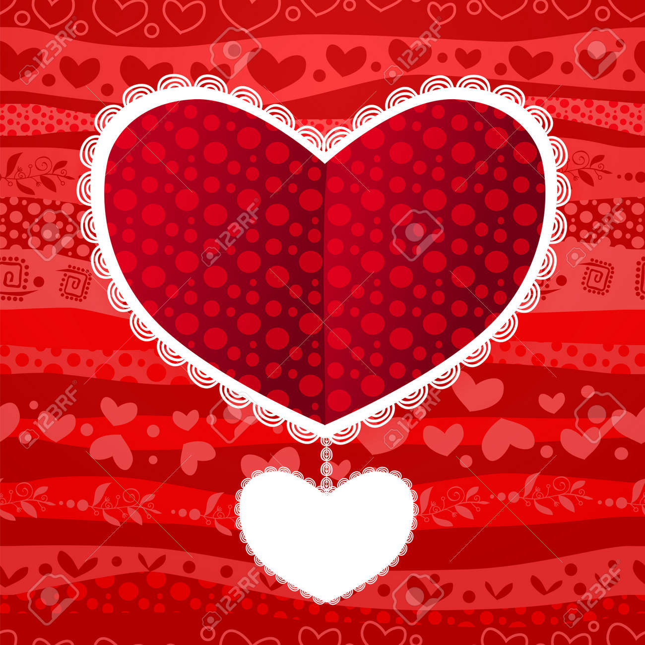 Love Valentine's Day Wedding Heart Card on Waves Seamless Background Stock Vector - 17294057
