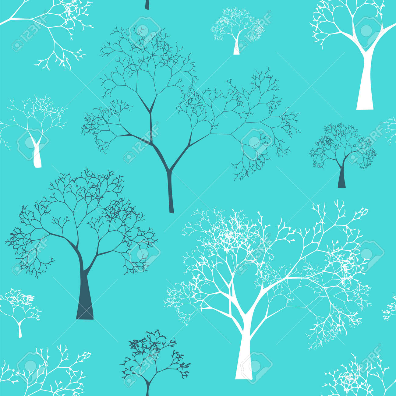 Seamless Pattern of Tree Silhouettes Stock Vector - 17293981