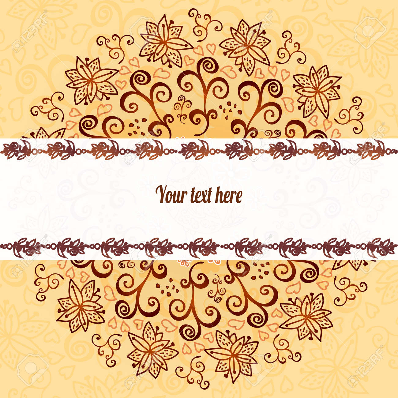 Vintage chocolate and cream ornament background with horizontal place for your text Stock Vector - 18078016