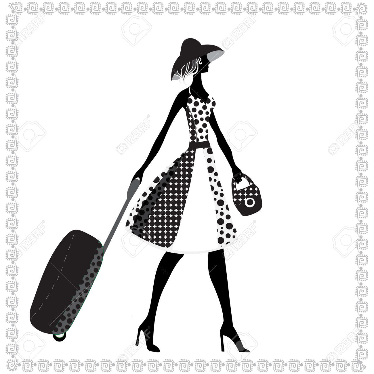 Black and white illustration of a young elegant woman with luggage, summer - 18078019