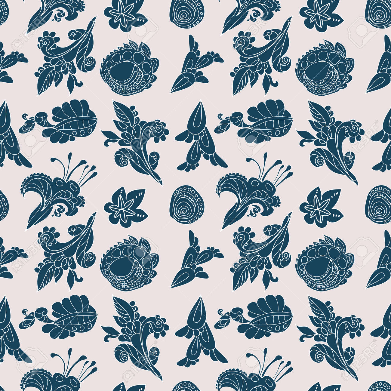 Vintage  white and blue floral seamless pattern with doodle flowers and plants Stock Vector - 18490527