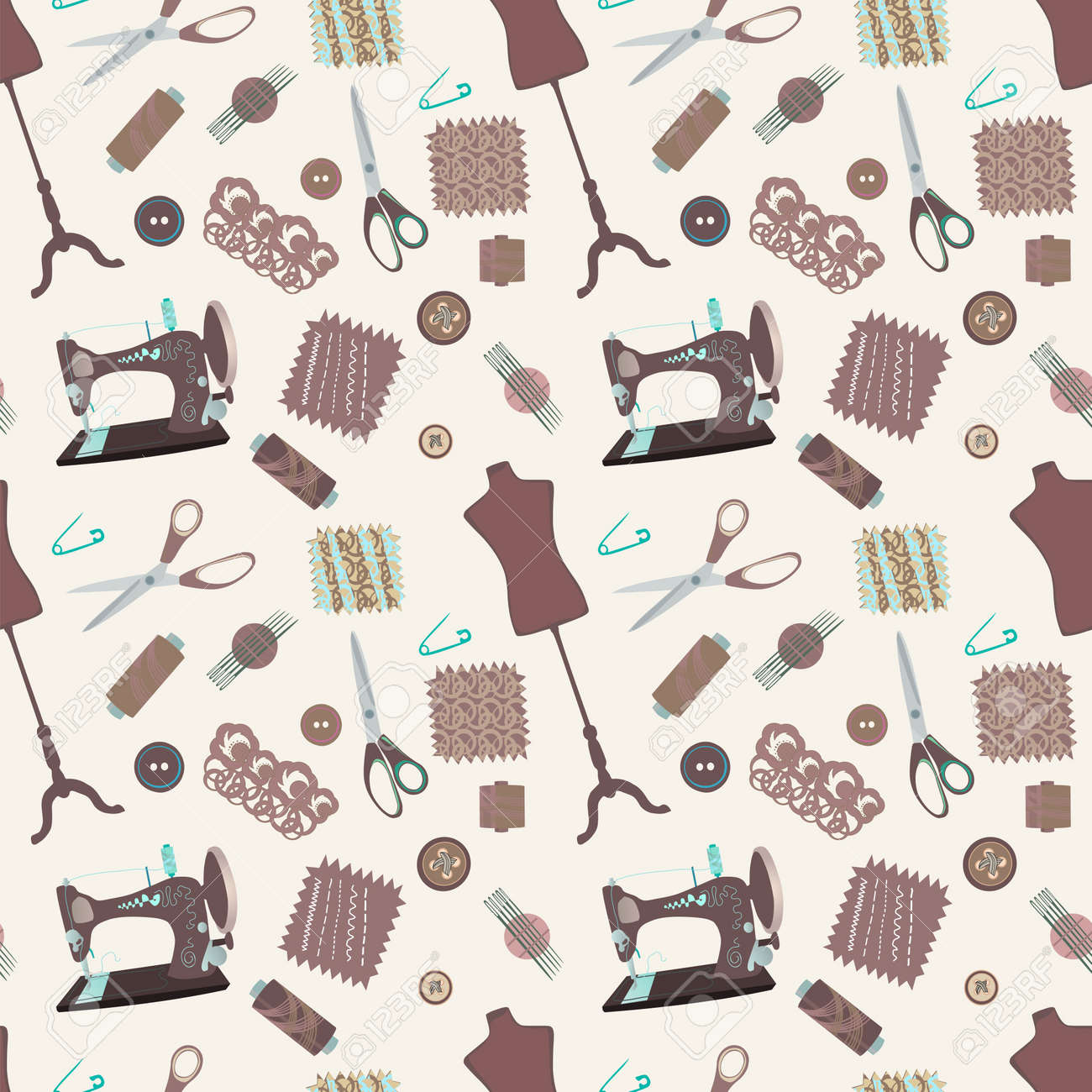 Retro Seamless Pattern With Sewing Accessories - Sewing Tailor ...