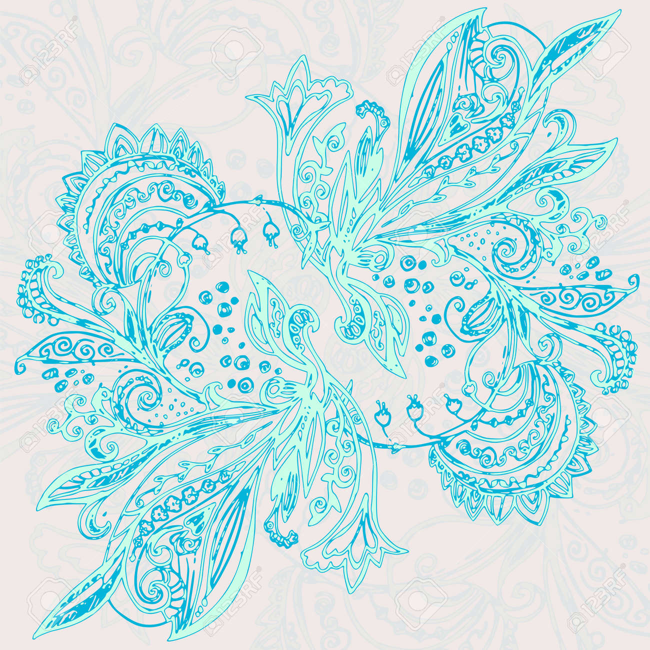 Vintage blue ethnic vector ornament background Stock Vector - 19870875
