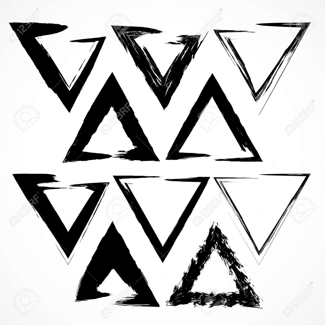 Vector Set Of Grunge Triangle Brush Strokes. Set No 2 Royalty Free ...