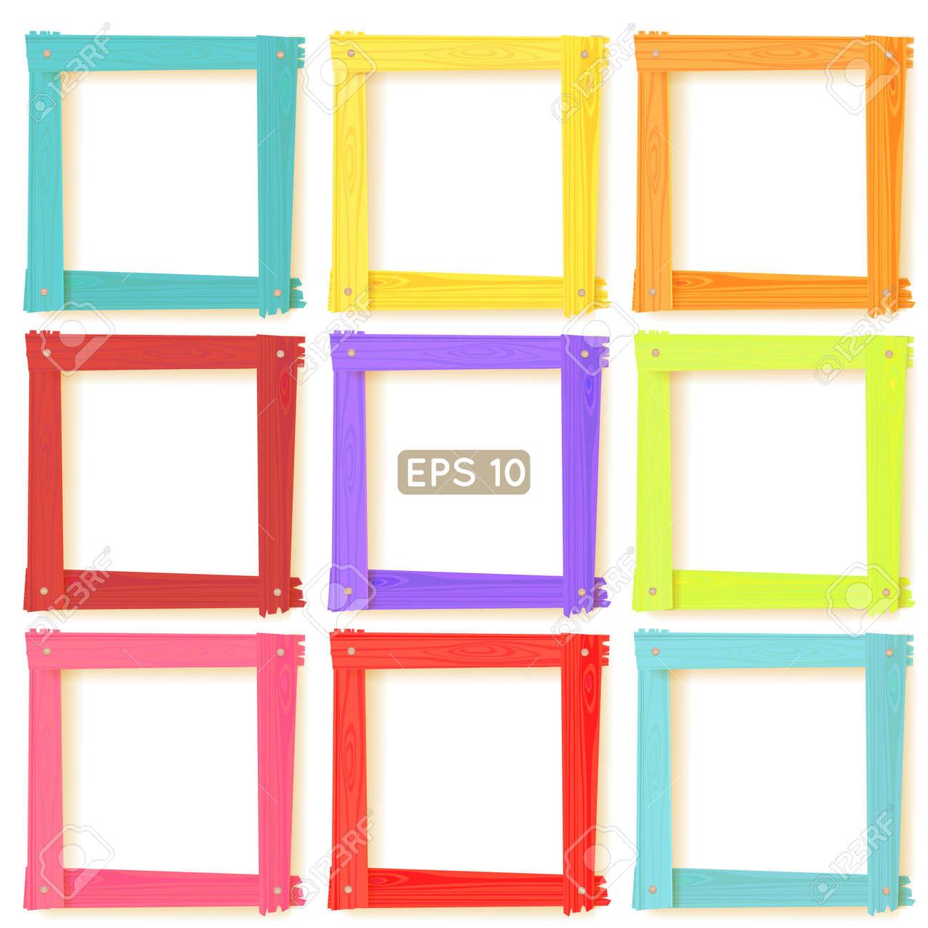 9 Holz Quadrat Bilderrahmen Farbe Regenbogen-Set Für Ihre Web-Design ...