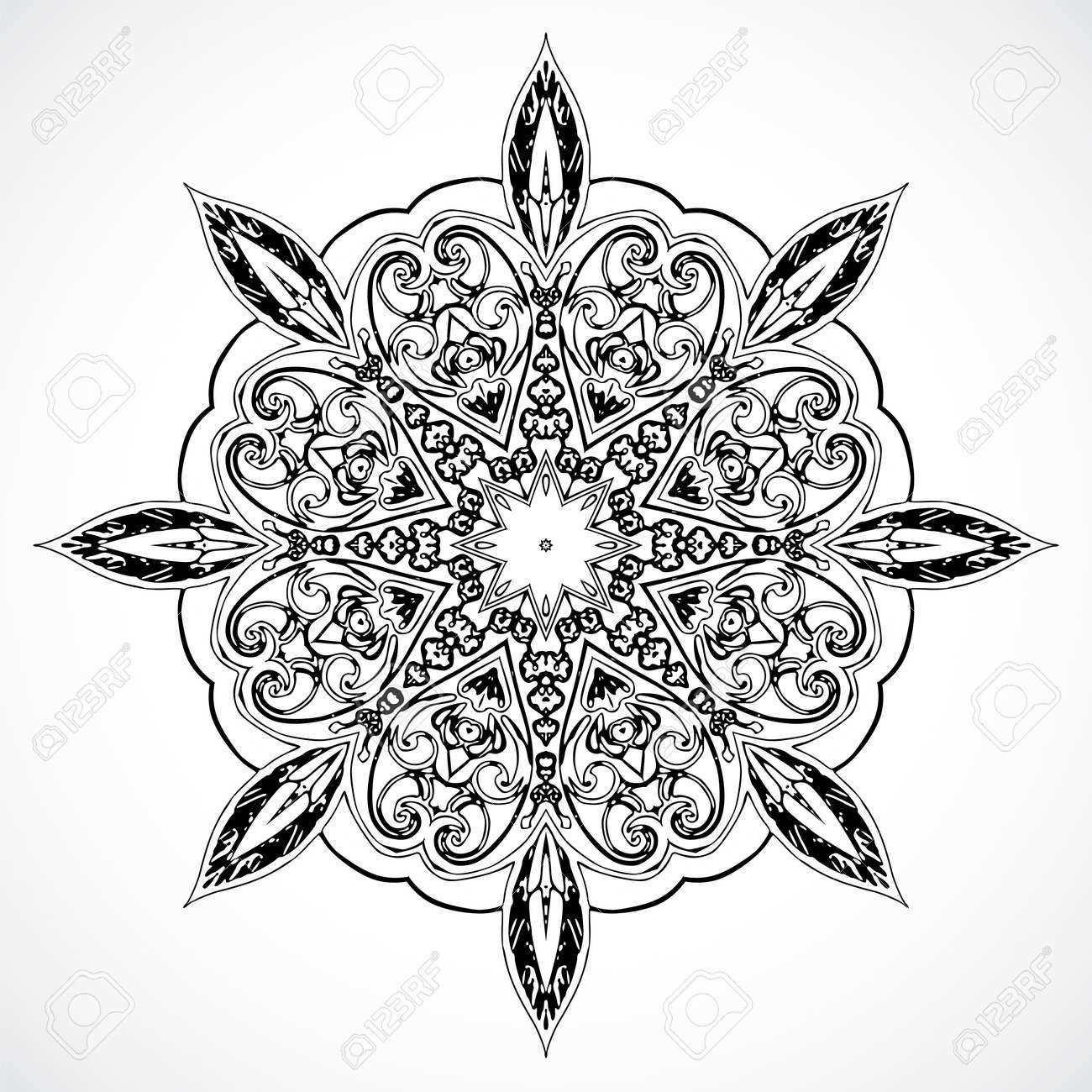 Black and white Vintage ethnic vector ornament mandala background card Stock Vector - 20194279