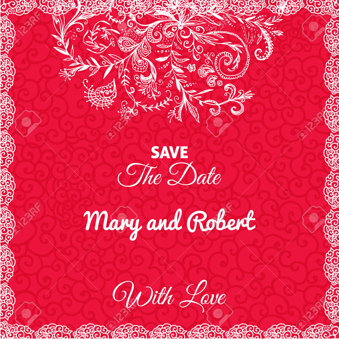 Wedding Invitation Card With Doodleornament On Geometric Red ...