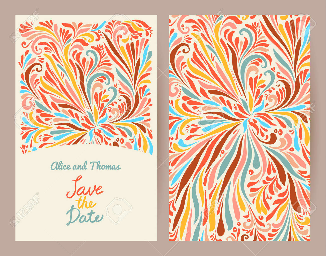 Wedding Invitation Template Background With Doodle Floral Ornament