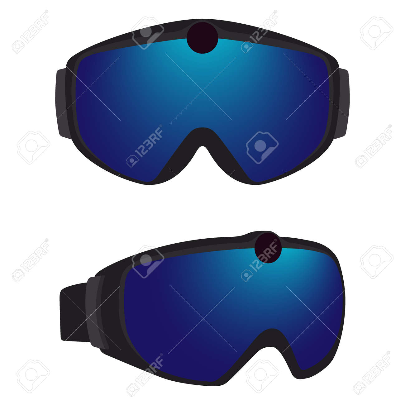 23f2976047b11 Banque d images - Ensemble de lunettes de ski et de snowboard classiques  avec des jantes colorées. Lunettes avec caméra d action intégrée.