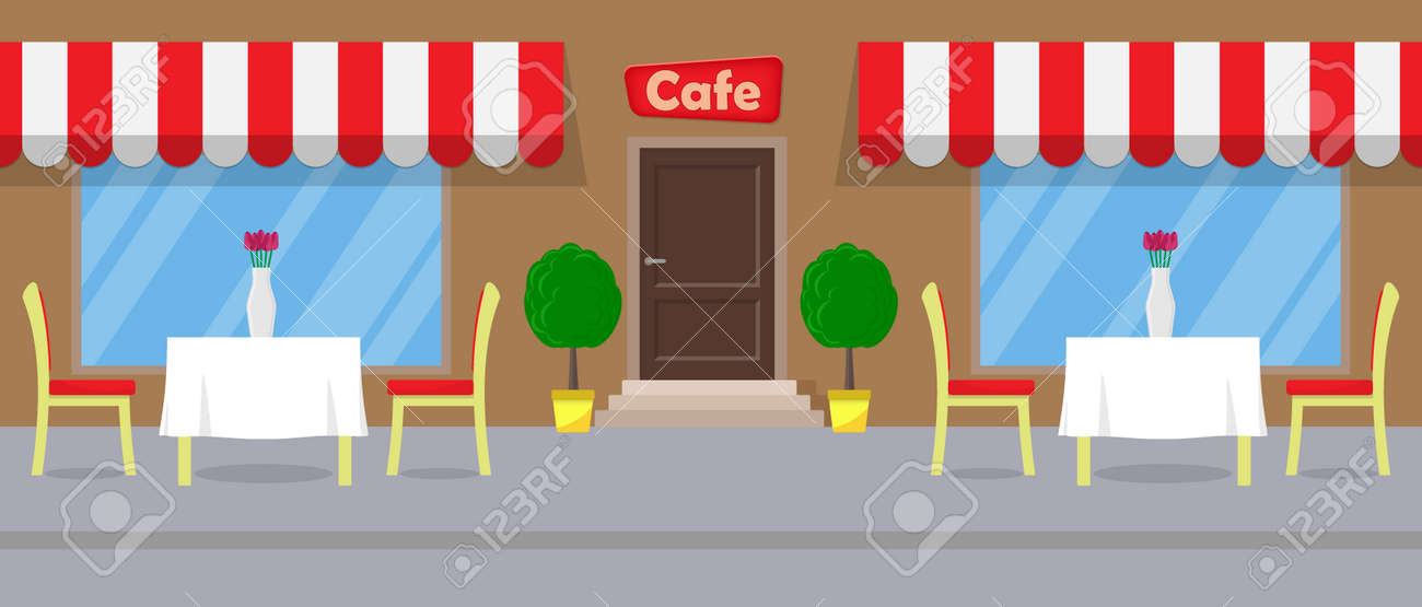 Cute Street Cafe Tables With White Tablecloths And Vases With Flowers On  It. Flat Vector