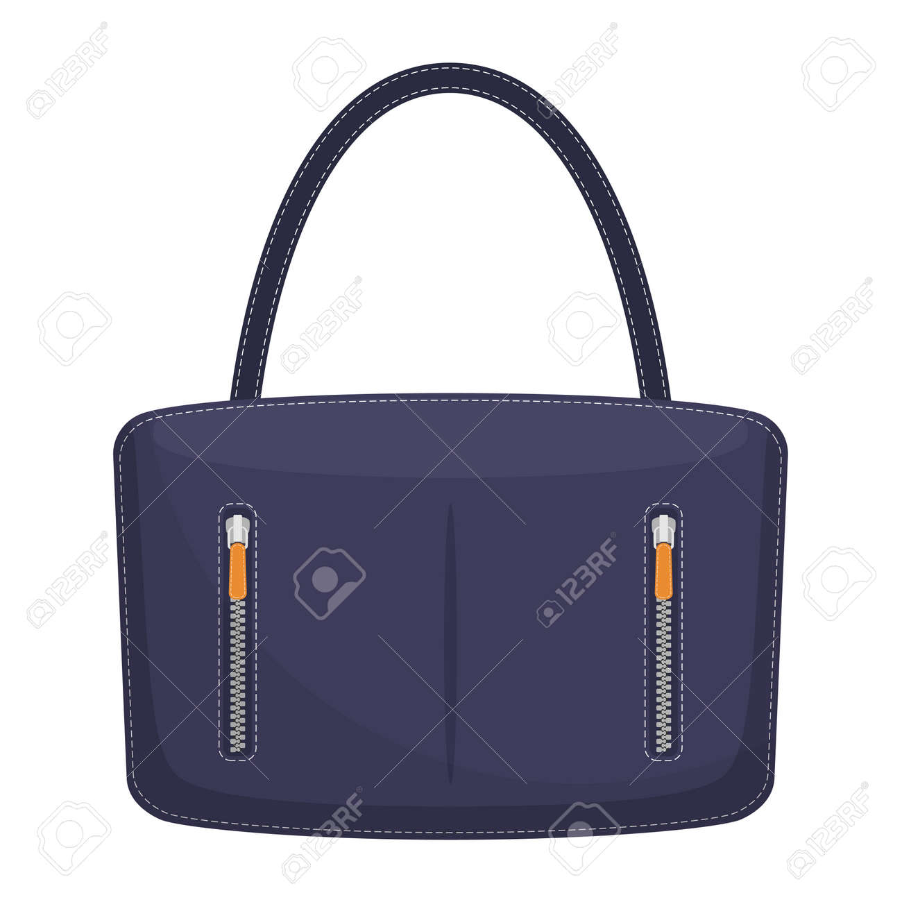 d6f378f62b Stylish colorful leather handbag with white stitching. Fashionable women s  bag isolated on white background