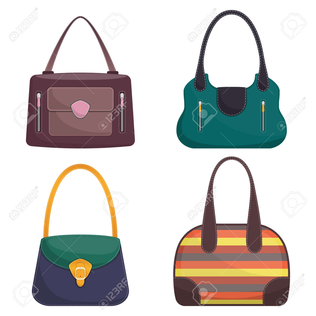 Collection of stylish colorful leather handbags with white stitching. Woman bag. Ladies handbags isolated on white background. Fashion accessories. Vector illustration in flat style.. - 94307123