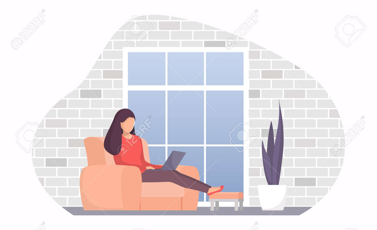 Woman Sitting In A Chair By The Window With Laptop Girl With