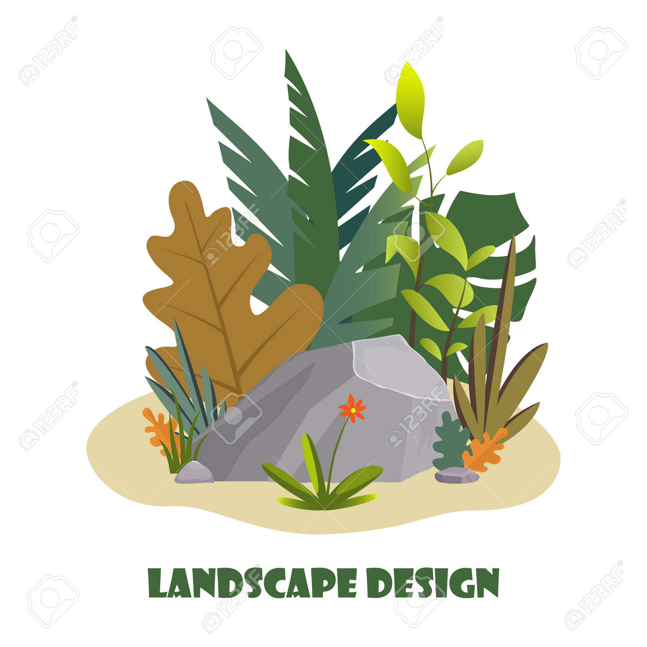 Landscape Design Composition With Plant And Stones Cute Floral