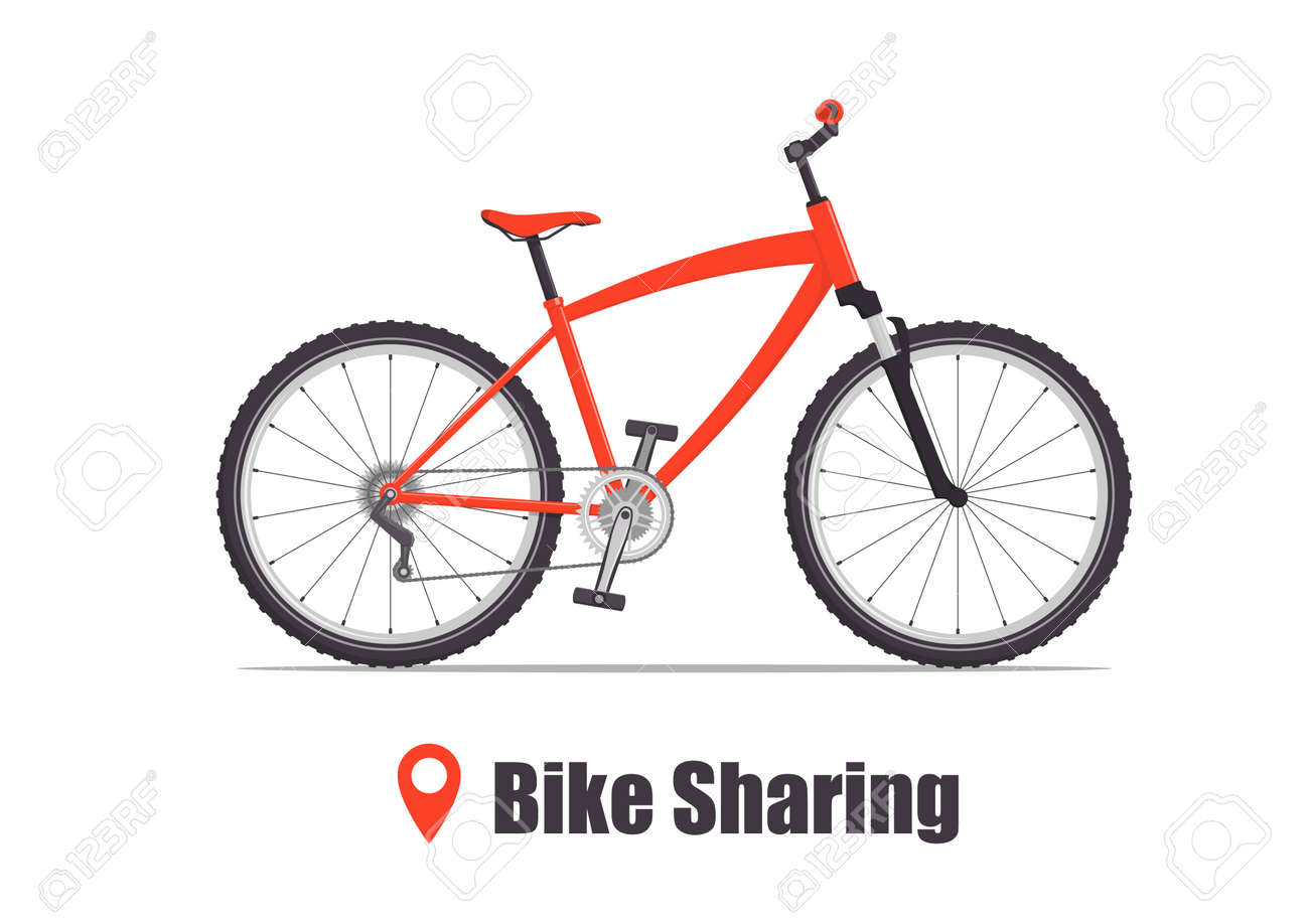 Modern city or mountain bicycle for bike sharing service. Multi-speed sport bicycle for adults. Bike sharing concept illustration, vector - 133330084