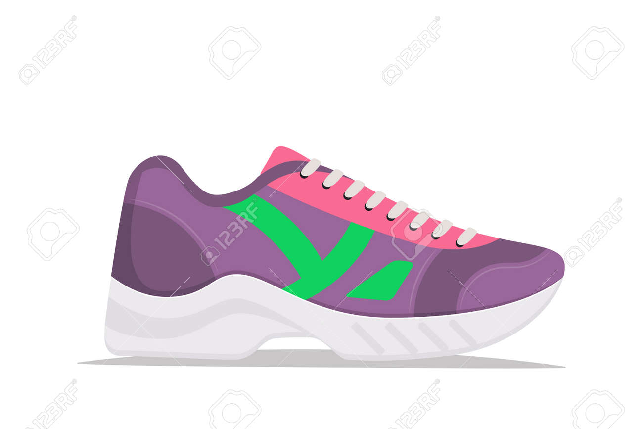 Modern trendy sneakers, side view. Fashion sneakers. Comfortable sports shoes. Vector illustration in flat style - 146806554