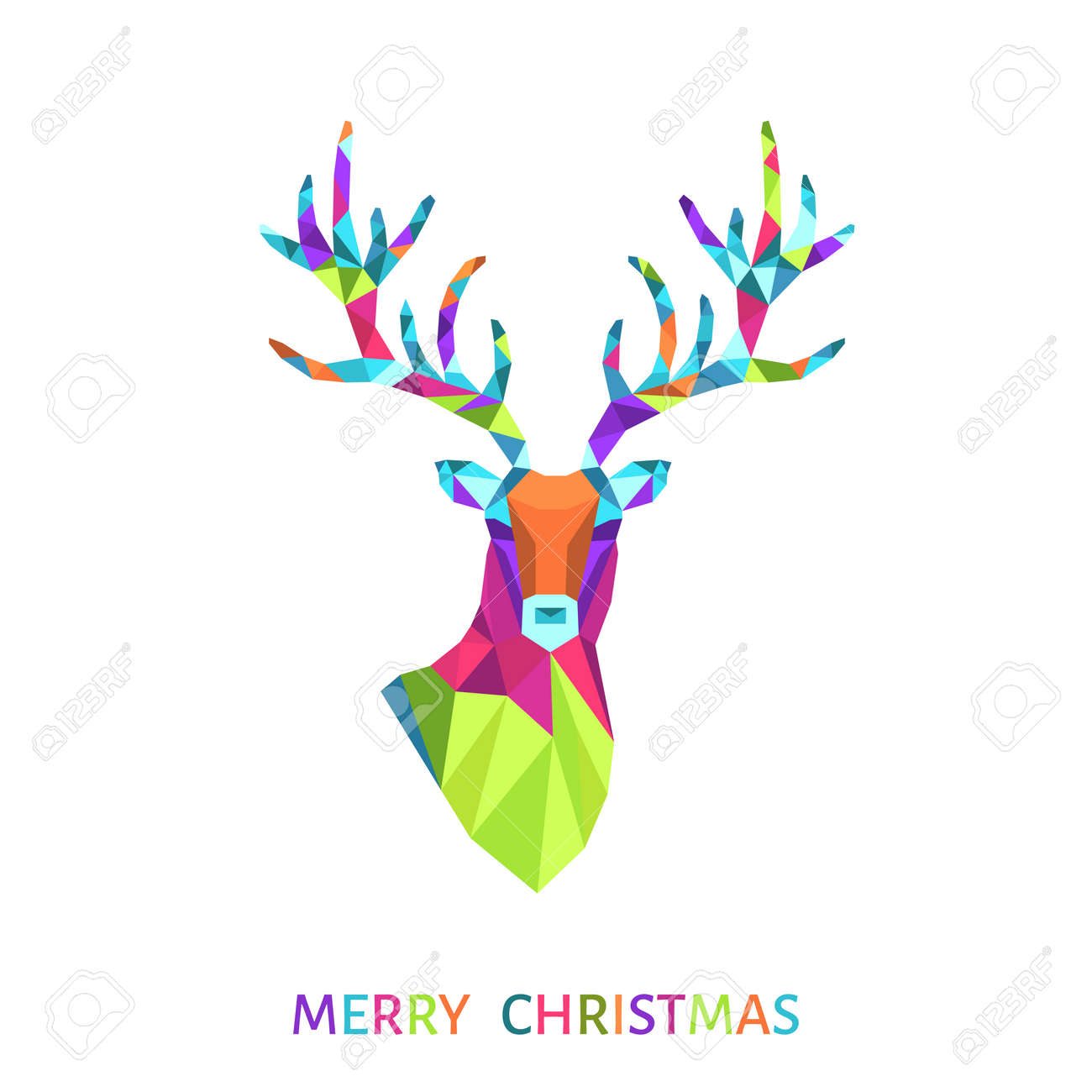 Bright Low Poly Triangle Deer Head Christmas Greeting Card With
