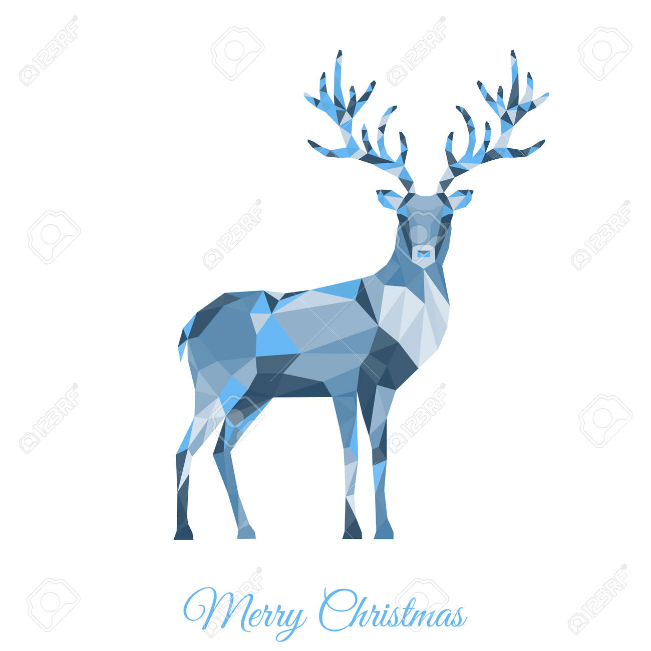 Low Poly Triangle Deer. Christmas Greeting Card With Reindeer ...