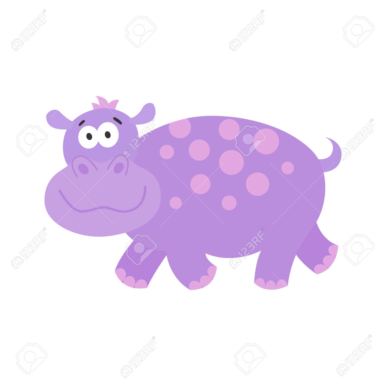 Drôle Hippo.Cute Dessin Animé Animal Africain. Béhémoth De Vecteur ...