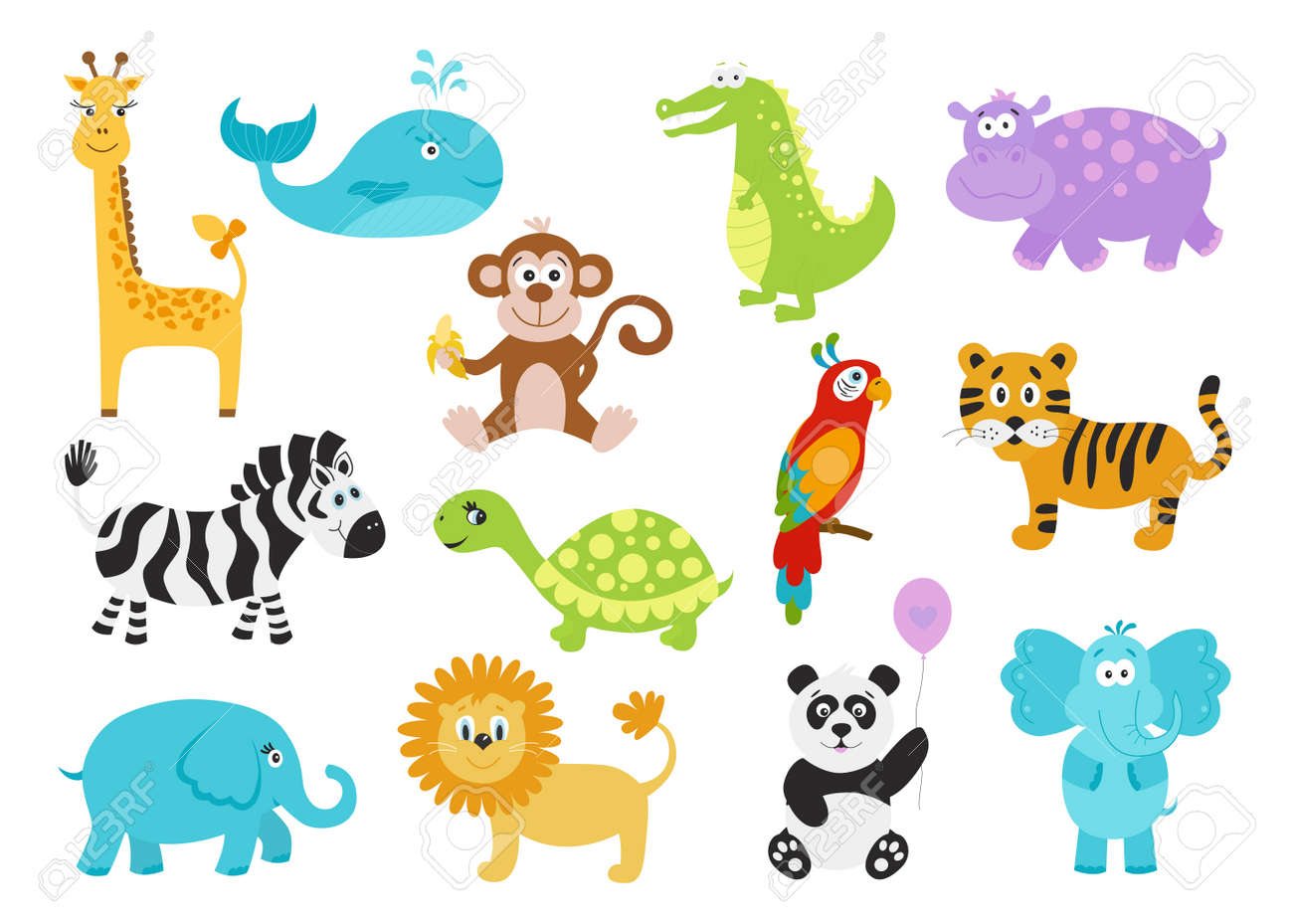 Set of cute cartoon animals for baby goods giraffe crocodile set of cute cartoon animals for baby goods giraffe crocodile elephant hippo voltagebd Gallery