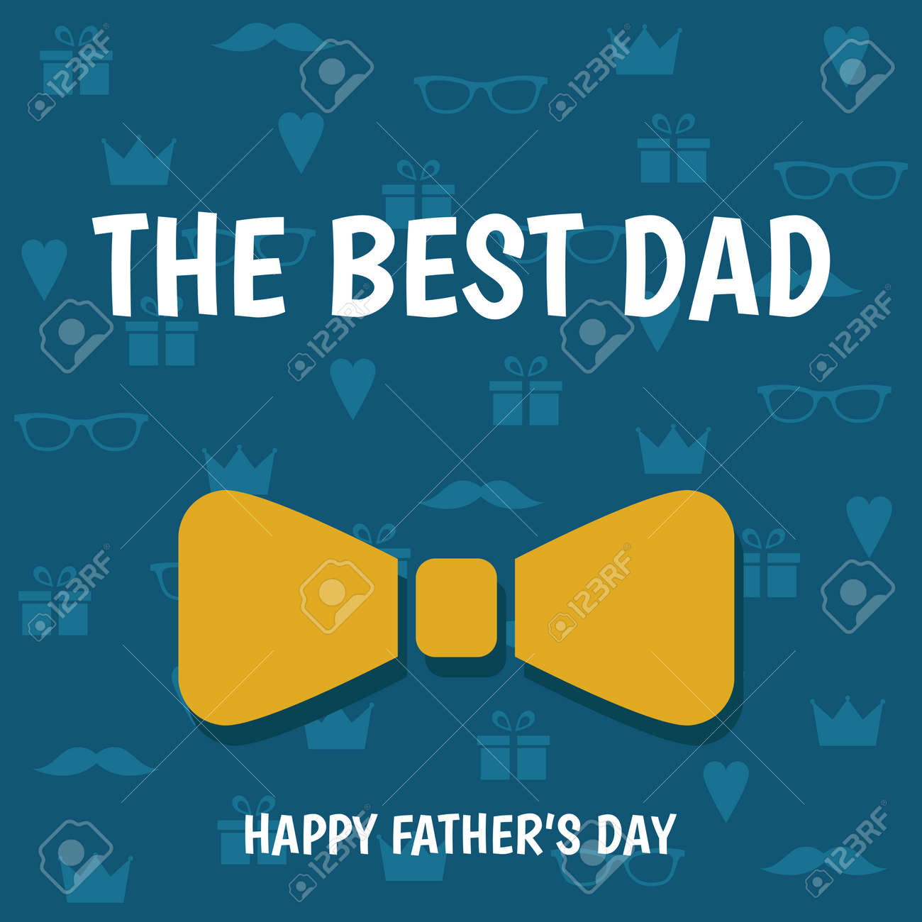 Happy Fathers Day Greeting Card With Bowtie On Blue Background The