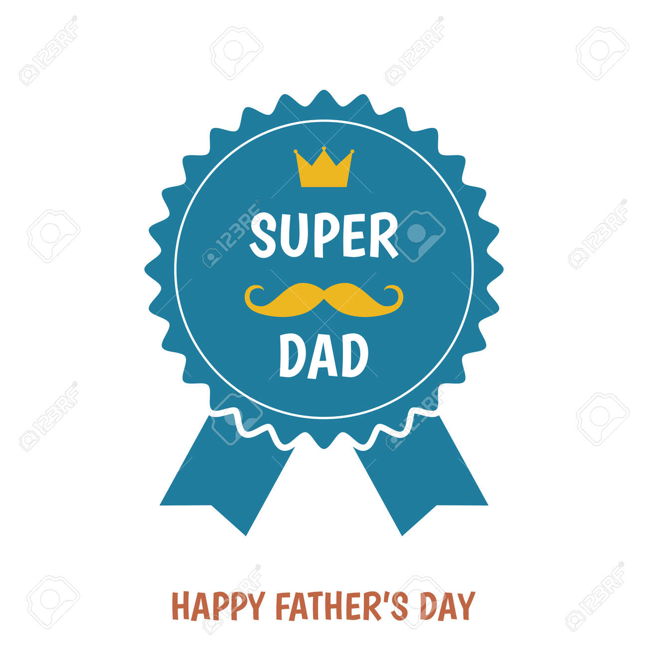 Happy Father S Day Greeting Card With Badge Isolated On White