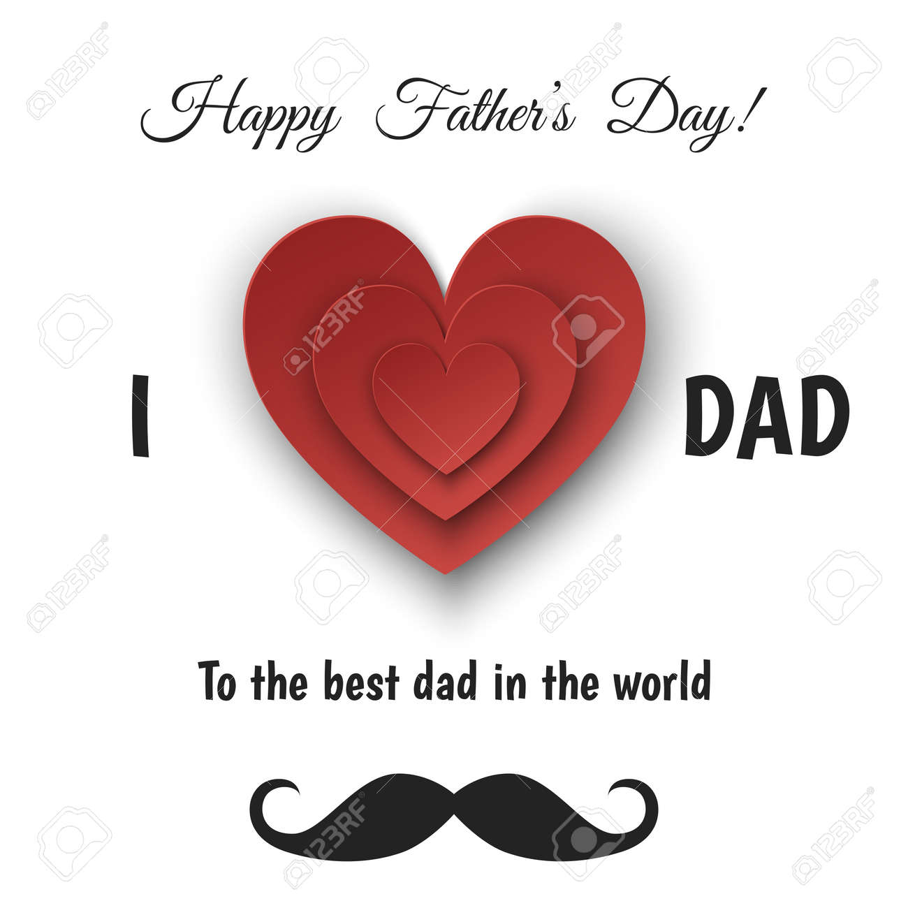 Happy Fathers Day Greeting Card With Paper Heart Isolated On White