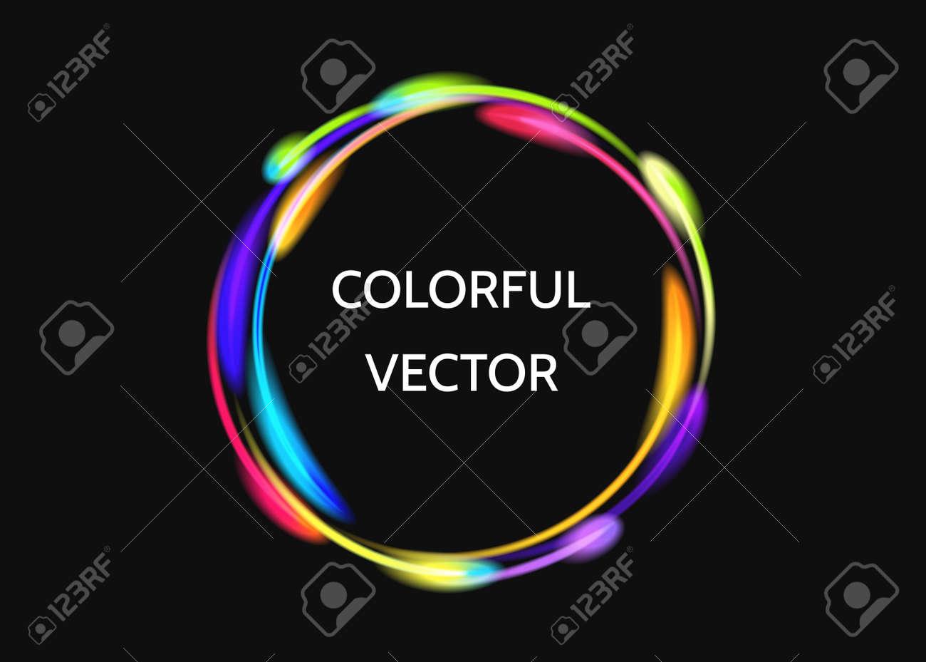 Efecto De Luces Coloridas Del Círculo De Neón En Fondo Negro ...