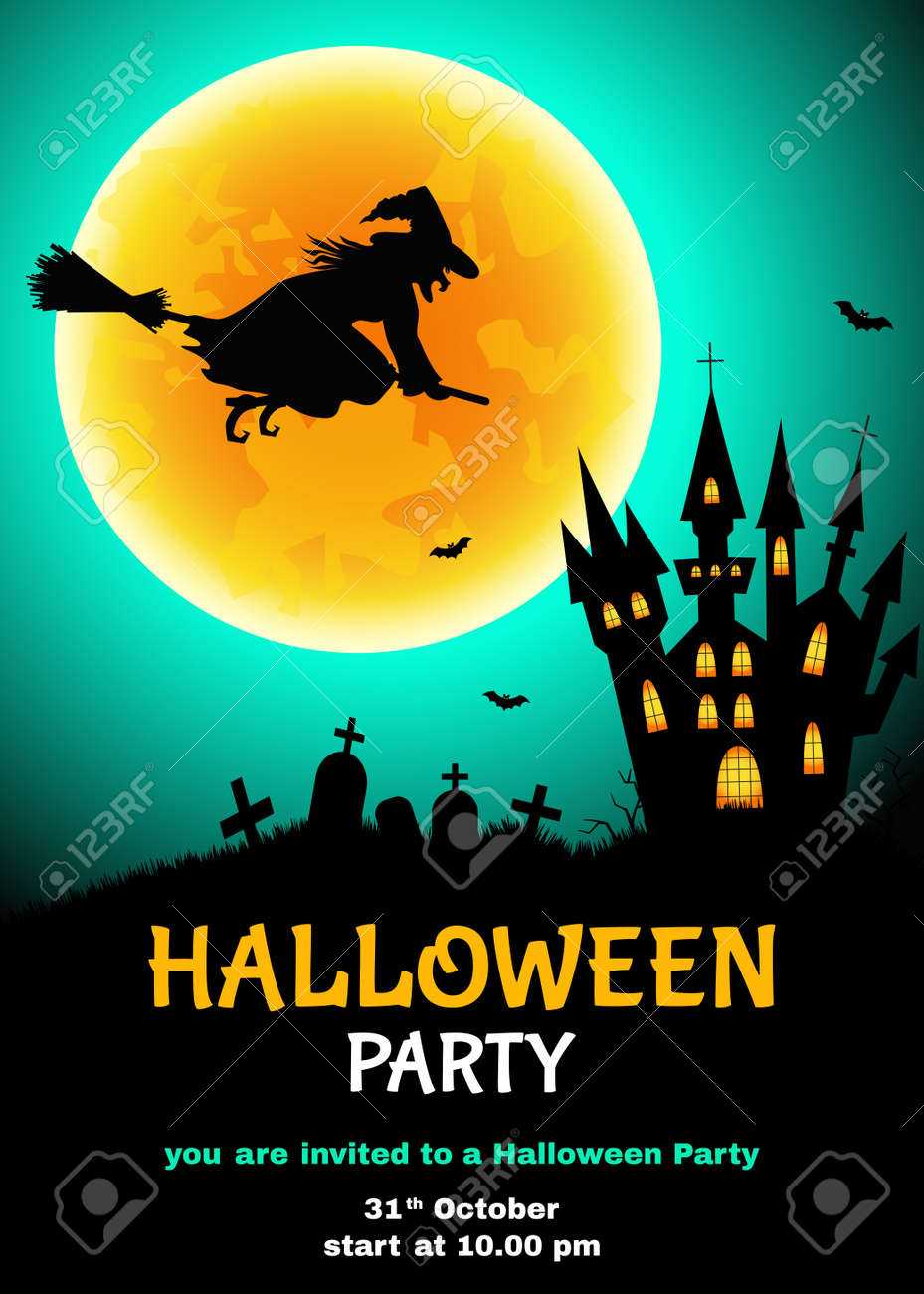halloween party flyer witch silhouette cemetery castle royalty
