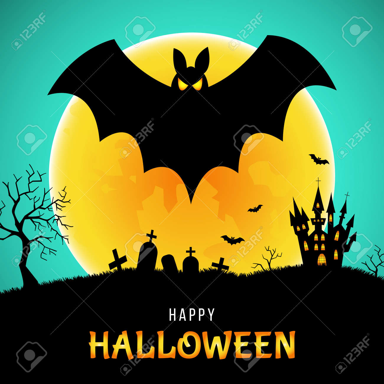 Happy Halloween Greeting Card Bat Castle And Moon Background