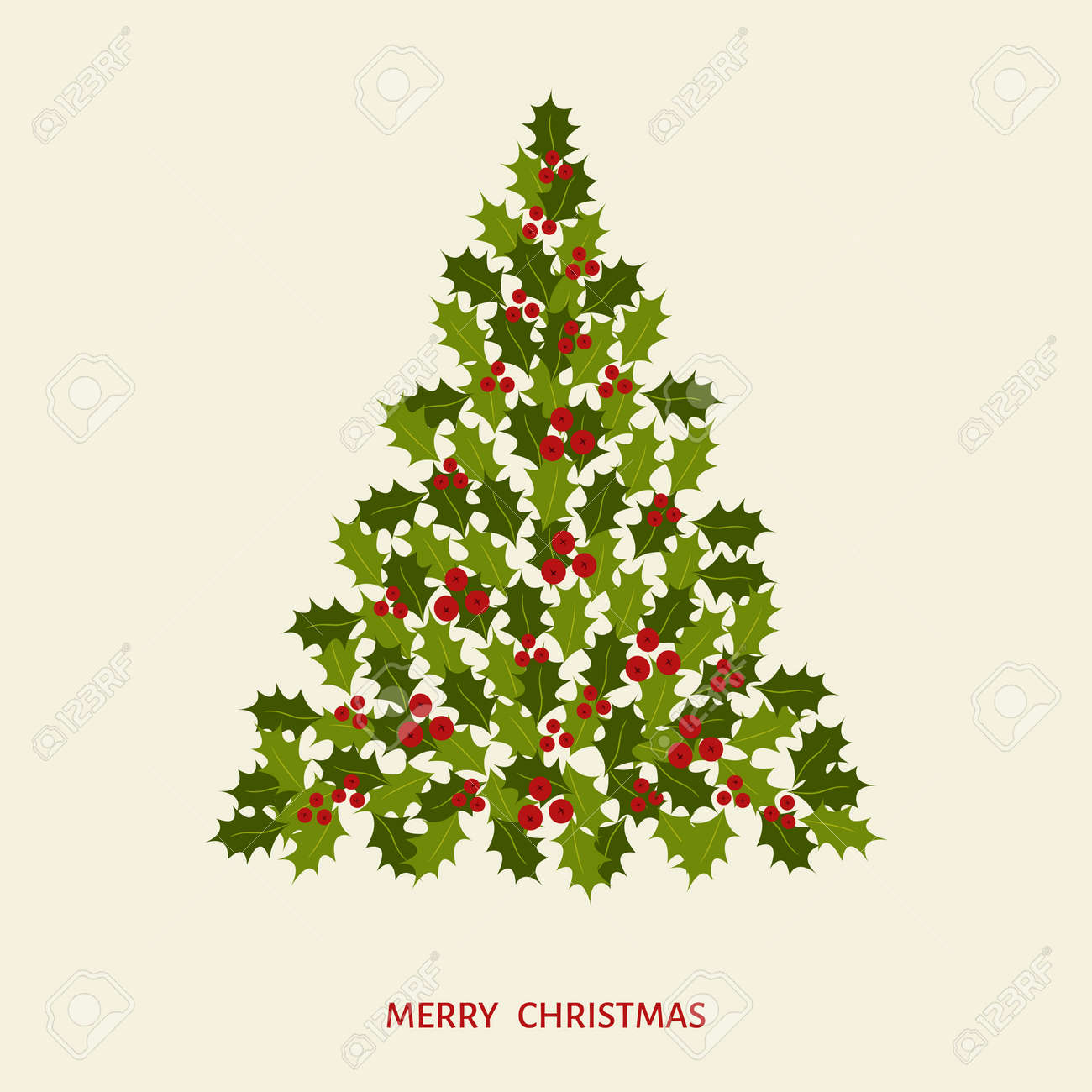 Abstract Christmas Tree With Leaves And Holly Berries Happy